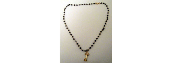 Pyrite Beaded Vermeil Chain Necklace