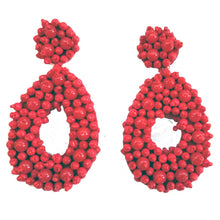Load image into Gallery viewer, Large Beaded Seed Tear Drop Shape Lightweight Earrings