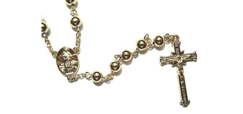 Large 5 mm Beads Gold Filled SHORT Rosary Necklace