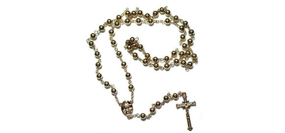 Large 5 mm Beads Gold Filled LONG Rosary Necklace