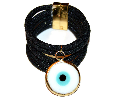 Lucky Eye Wide Cuff Bracelet with Black Vegan Leather Cord