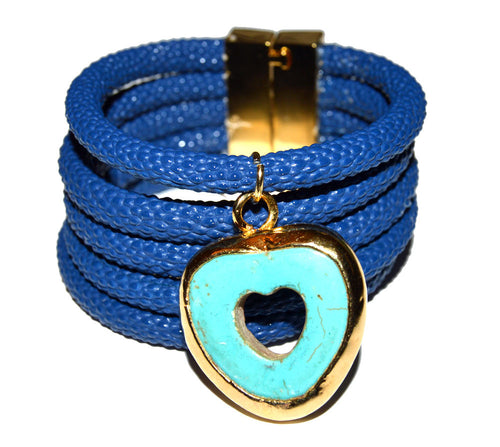 Turquoise Embedded Cuff Bracelet with Blue Vegan Leather Cord