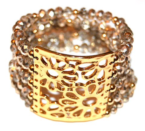 Half Coat Metallic Pale Gold Czech Crystal Multi Strand Flower Cuff Bracelet