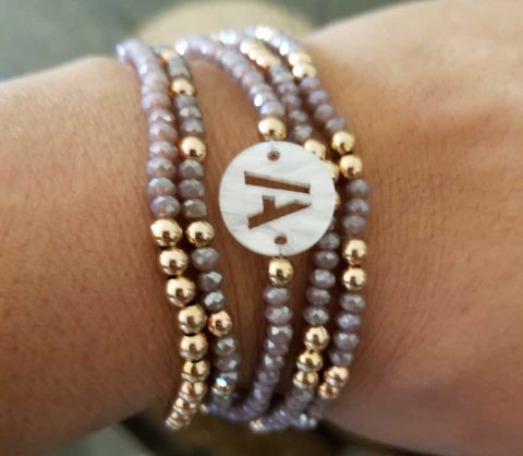 Lilac Czech Crystal and Rose Gold Bracelet Set