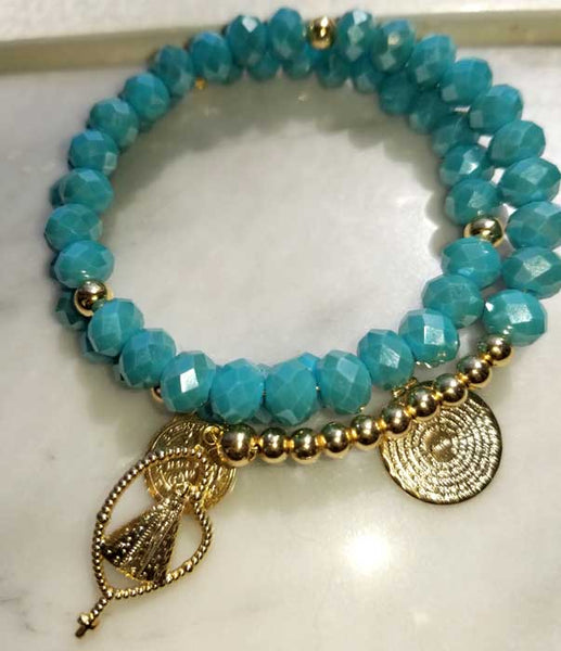 Memory Wire Aquamarine Crystal and Virgin of the Valley Bracelet