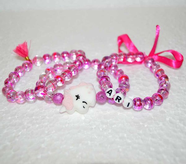 Personalized Unicorn Bracelets Set for Girls