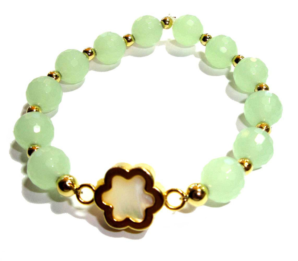 Sea Foam Green Quartz Flower Bracelet