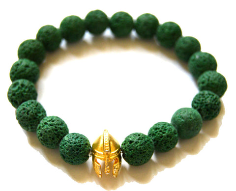 Warrior Helmet Green Lava Bead Bracelet