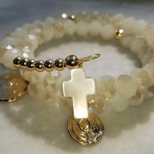 Memory Wire Rosary Crystal Blond Flare Beads Bracelet