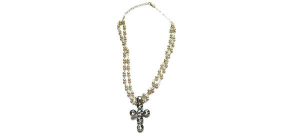 Multi Strand White Gold Filled Crystal Cross Necklace
