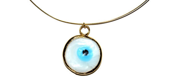 Gold-plated Wire Necklace Accentuated By a White Lucky Eye Bezel