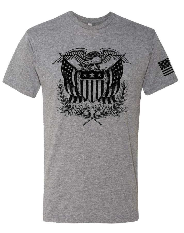 Aliso Fitness Patriot Eagle Mens Tri-Blend Crew (PremiumHeather)