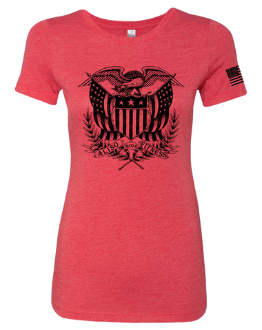 Aliso Fitness Patriot Eagle Womens Tri-Blend Tee (VintageRed)