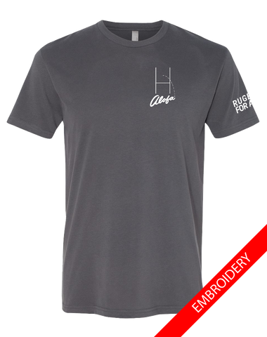 Alofa Rugby For All Mens Premium Sueded Tee (HeavyMetal)