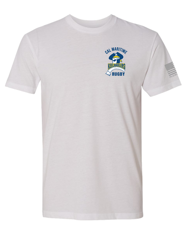 Cal Maritime Mens Premium Sueded Tee (White)