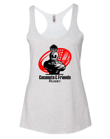 Coconuts Rugby Dead Rabbit Womens Tri-Blend Racerback Tank (HeatherWhite)