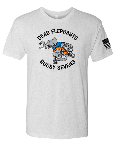 CSUF Rugby Dead Elephants Mens TriBlend Crew (HeatherWhite)