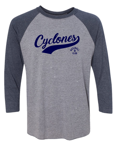 Cyclones Triblend Three-Qrt Sleeve Raglan (VintageNavy)