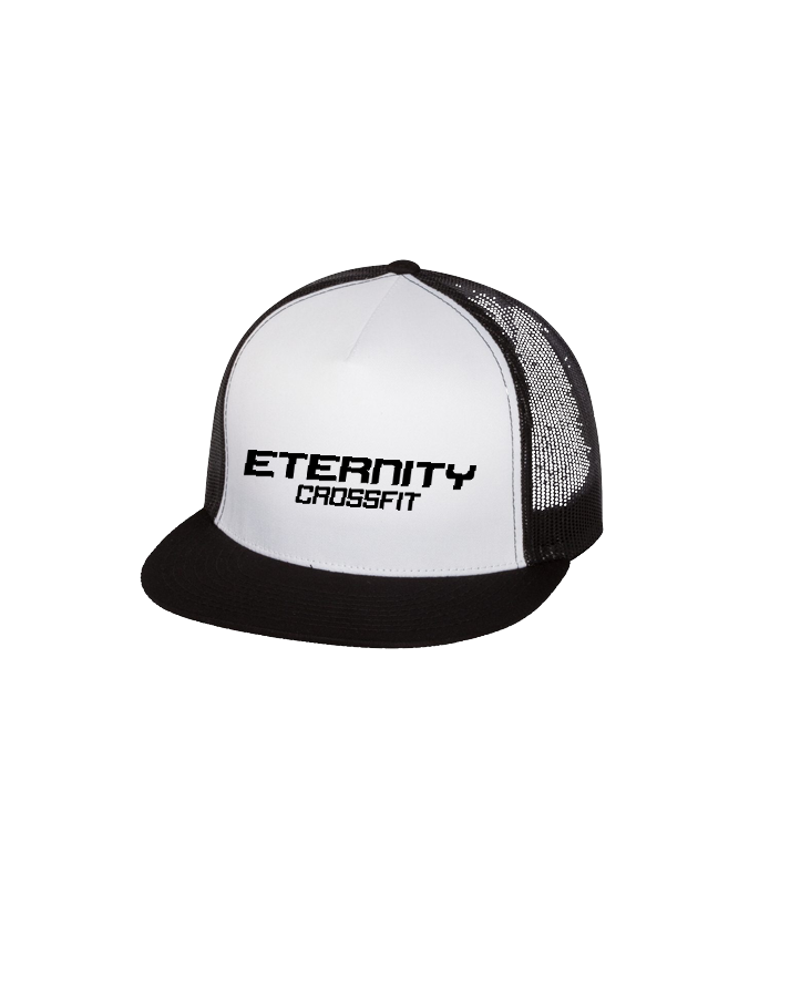 Eternity Flat Bill Trucker Cap (Black-White)