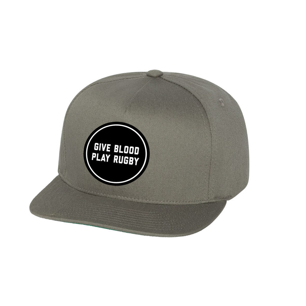Give Blood Embroidered Snapback Cap (Grey)