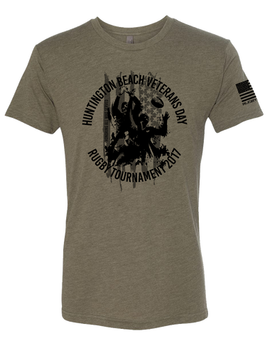 HB Rugby 2017 Veterans Day Mens Tri-Blend Crew (MilitaryGreen)