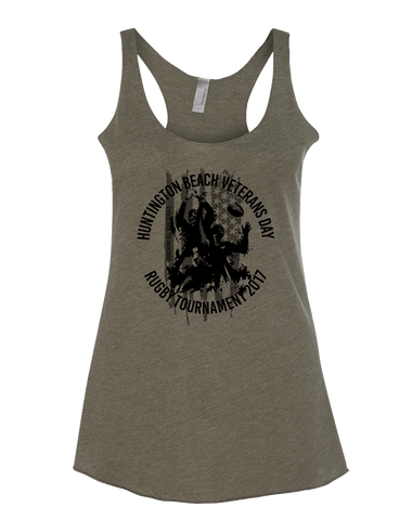 HB Rugby 2017 Veterans Day Womens Tri-Blend Racerback Tank (MilitaryGreen)