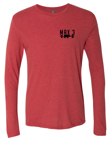 Max 3 CrossFit Core Triblend Long Sleeve Tee (VintageRed)