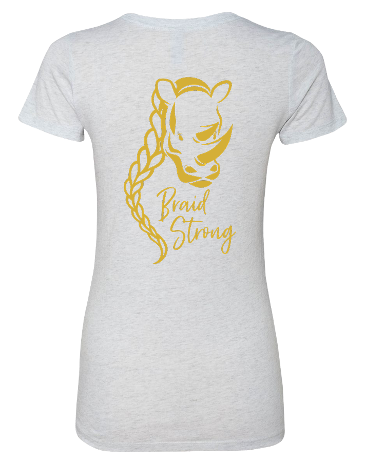 Max 3 CrossFit Braid Strong Womens Tri-Blend Tee (HeatherWhite)