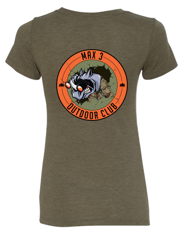 Max 3 CrossFit Outdoor Club Womens Tri-Blend Tee (MilitaryGreen)