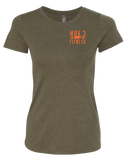 Max 3 Fitness Outdoor Club Womens Tri-Blend Tee (MilitaryGreen)