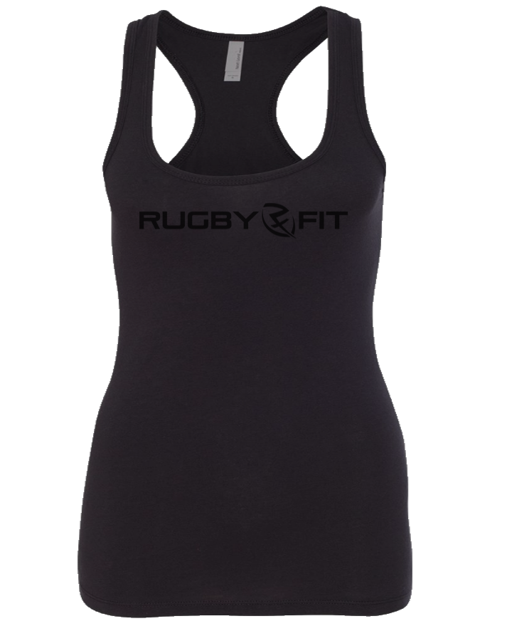 RugbyFit Ladies Racerback Tank (Black on Black)