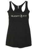 "RugbyFit ""Stand For Something"" Ladies Racerback Tank (Cement on Vintage Black)"