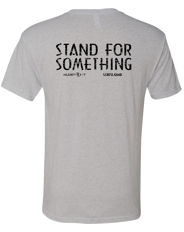 "RugbyFit ""Stand For Something"" Tee (Black on Heather White)"