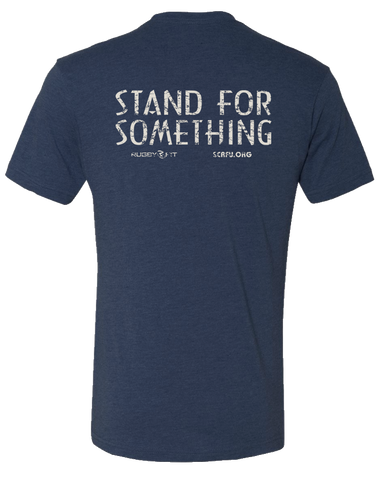 "RugbyFit ""Stand For Something"" Tee (Cement on Vintage Navy)"