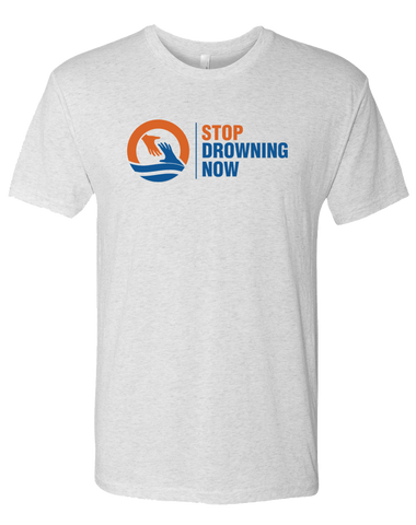 SDN Stop Drowning Now Mens Tri-Blend Crew (HeatherWhite)