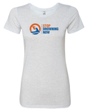SDN Stop Drowning Now Womens Tri-Blend Tee (HeatherWhite)