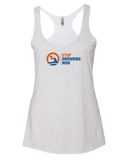 SDN Stop Drowning Now Womens Tri-Blend Racerback Tank (HeatherWhite)