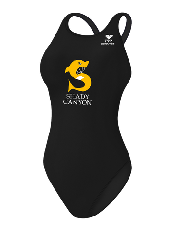 Shady Canyon Girls Durafast One Solid Maxfit Swimsuit (Black)