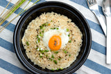 Creamy Chicken Risotto served with Onsen Egg and Port Wine Sauce
