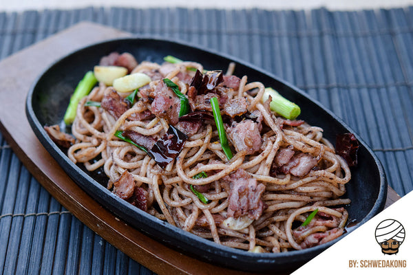 Spaghetti with Bacon and Chinese Black Olive Sauce