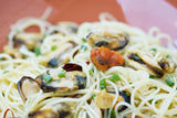 Capellini with Mussles in White Wine and Garlic