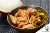 Crispy Fried Chicken in Salted Egg Yolk Sauce served with Japanese rice