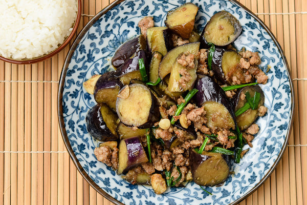 Stir-Fried Minced Pork and Eggplant in Salted Fish Sauce served with Japanese Rice