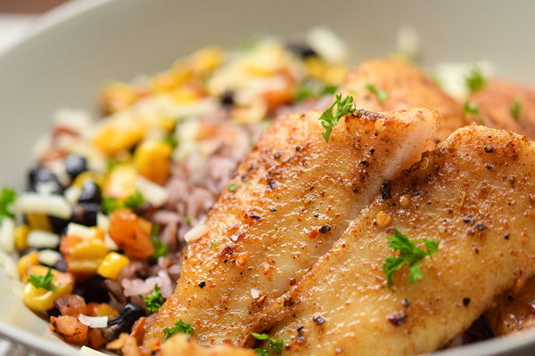 Mexican-Style Rice Bowl with Grilled Dory