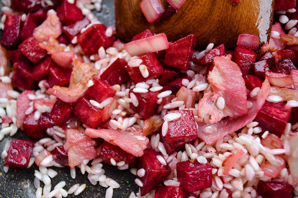 Bacon Beetroot Risotto