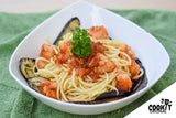 Spaghetti al Pomodoro with Dory and Roasted Eggplant