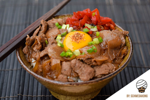 Gyudon Topped with Raw Egg