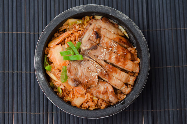 Pork Chop with Kimchi Fried Rice