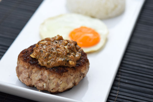 Loco Moco: Pork Burger with Hawaiian-Style Gravy Sauce