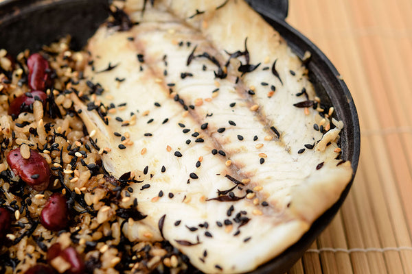 Japanese-Style Baked Rice with Sea Bass and Hijiki